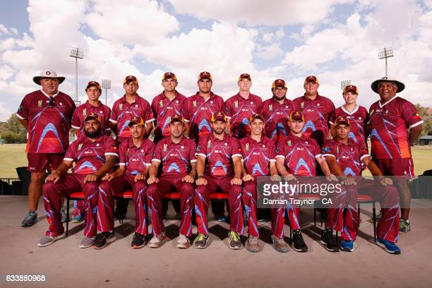 The Queensland Mens team pose for photo before the National Indigenous Cricket Championships start on February 6 2017 in Alice Springs Australia