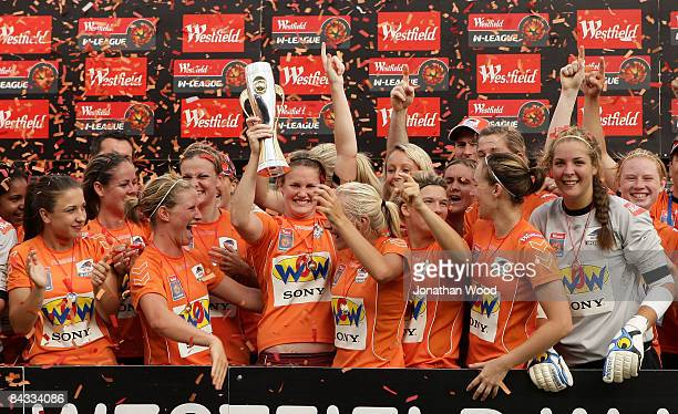 The Queensland Roar women celebrate victory in the WLeague 2009 Grand Final match between the Queensland Roar and Canberra United at Ballymore...