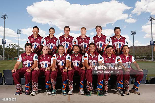 The Queensland team poses for a team photo before the 20415 Imparja Cup on February 8 2015 in Alice Springs Australia