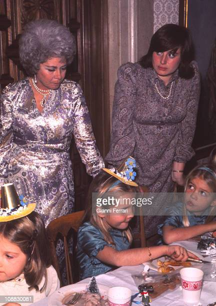 The Quenn Mother Federica of Greece in the birthday of her grandaughter Elena daughter of the princes Juan Carlos of Borbon and Sofia of Greece along...