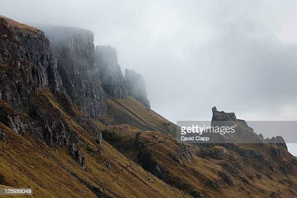 The Quiraing in low cloud and fog on Isle of Skye, Scotland, UK (22nd January 2010)