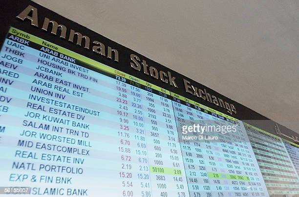 AMMAN JORDAN NOVEMBER 14 The quotations of stock market are seen on screens on November 14 2005 at the Stock Exchange in Amman Jordan Amman's Stock...