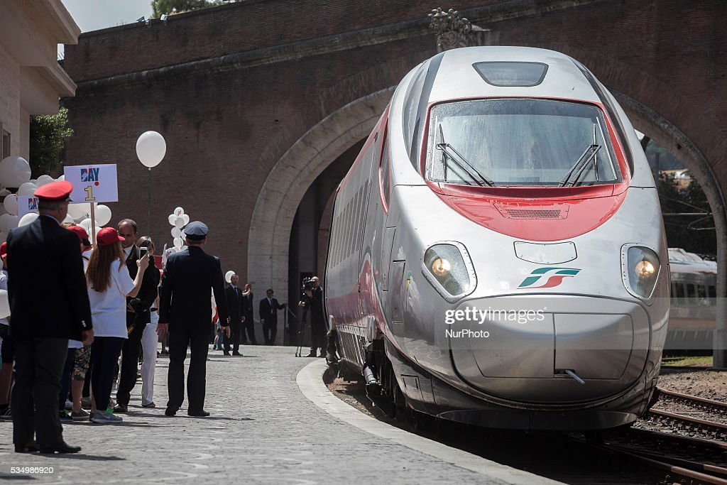 "The ""Childrens Train"", carrying 400 children, arrives at the Vatican City train station to meet with Pope Francis in Vatican City, Vatican on May 28, 2016. ""Brought by waves is the slogan of the fourth edition of the ""Childrens Train"", an initiative of the Pontifical Council for Culture. In collaboration with Italian State Railways, four hundred children from schools in Italys southern region of Calabria make the long trip to the Vatican to meet Pope Francis."