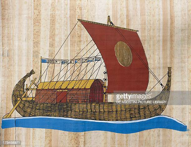 The Ra ship built in 1969 based on drawings and models from ancient Egypt by the Norwegian explorer Thor Heyerdahl to cross the Atlantic painting on...