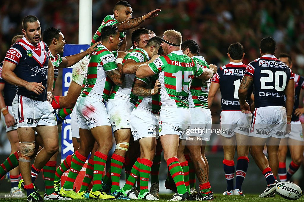 The Rabbioths celebrate a try by George Burgess during the round one NRL match between the Sydney Roosters and the South Sydney Rabbitohs at Allianz Stadium on March 7, 2013 in Sydney, Australia.
