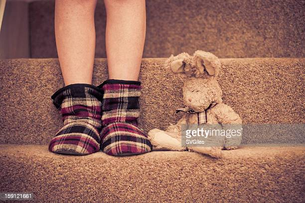 The rabbit on the stairs