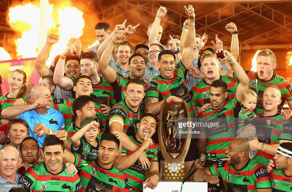 The Rabbitohs celebrate victory during the 2014 NRL Grand Final match between the South Sydney Rabbitohs and the Canterbury Bulldogs at ANZ Stadium on October 5, 2014 in Sydney, Australia.