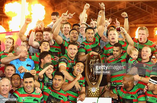 The Rabbitohs celebrate victory during the 2014 NRL Grand Final match between the South Sydney Rabbitohs and the Canterbury Bulldogs at ANZ Stadium...