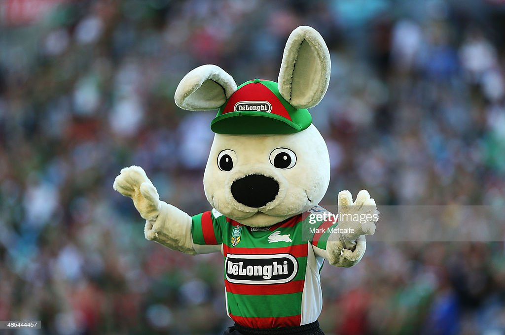The Rabbitohs mascot waves to the crowd during the round seven NRL match between the South Sydney Rabbitohs and the Canterbury-Bankstown Bulldogs at ANZ Stadium on April 18, 2014 in Sydney, Australia.