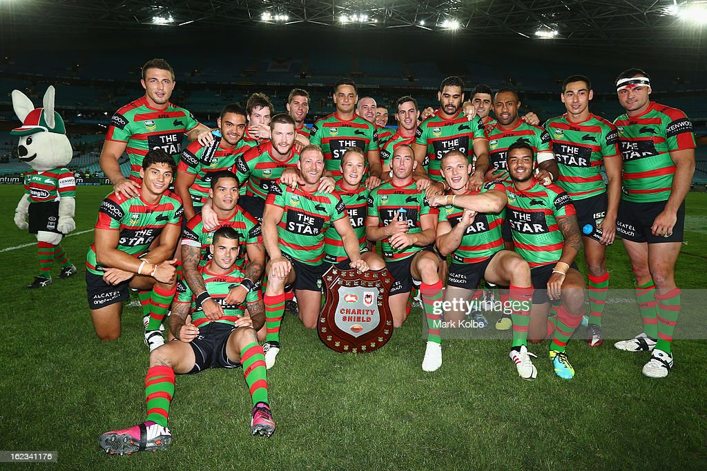 The Rabbitohs pose with the shield as they celebrate victory during the NRL Charity Shield match between the South Sydney Rabbitohs and the St George Illawarra Dragons at ANZ Stadium on February 22, 2013 in Sydney, Australia.
