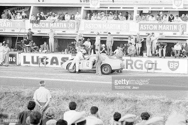 The Race 24 Hours Of Le Mans 1962 Le Mans 23 ou 24 juin 1962 La voiture ASTON MARTIN DB4 GT ZAGATO pilotée par Jean KERGUEN ou Jacques DEWES à...