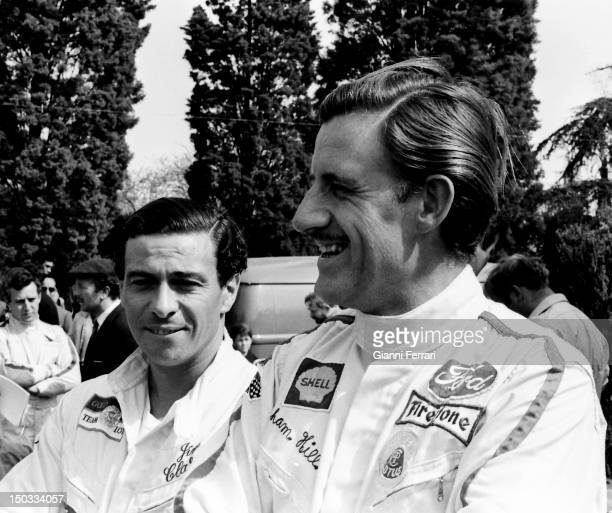 The race car drivers Jim Clark Scottish and Graham Hill English on the circuit of Jarama 13rd March 1968 Madrid Spain