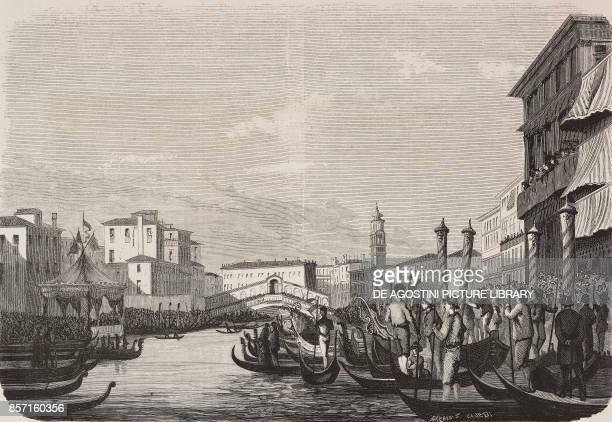 The race in the Grand Canal on July 26 Venice Italy drawing by P C Allegri illustration from Nuova illustrazione Universale Year 1 Vol II No 40...
