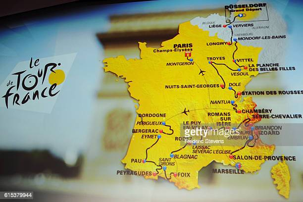 The race route map is displayed during Le Tour de France 2017 Route Announcement at the Palais des Congres on October 18 2016 in Paris France The...