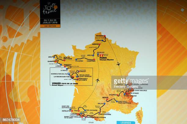 The race route map is displayed during Le Tour de France 2018 Route Announcement at the Palais des Congres on October 17 2017 in Paris France The...