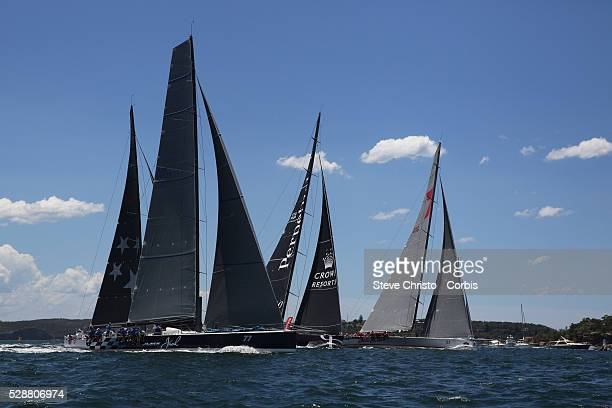 The race start Black Jack Giacomo Perpetual Loyal and Wild Oats XI on Sydney Harbour Sydney Australia Tuesday 10th December 2013