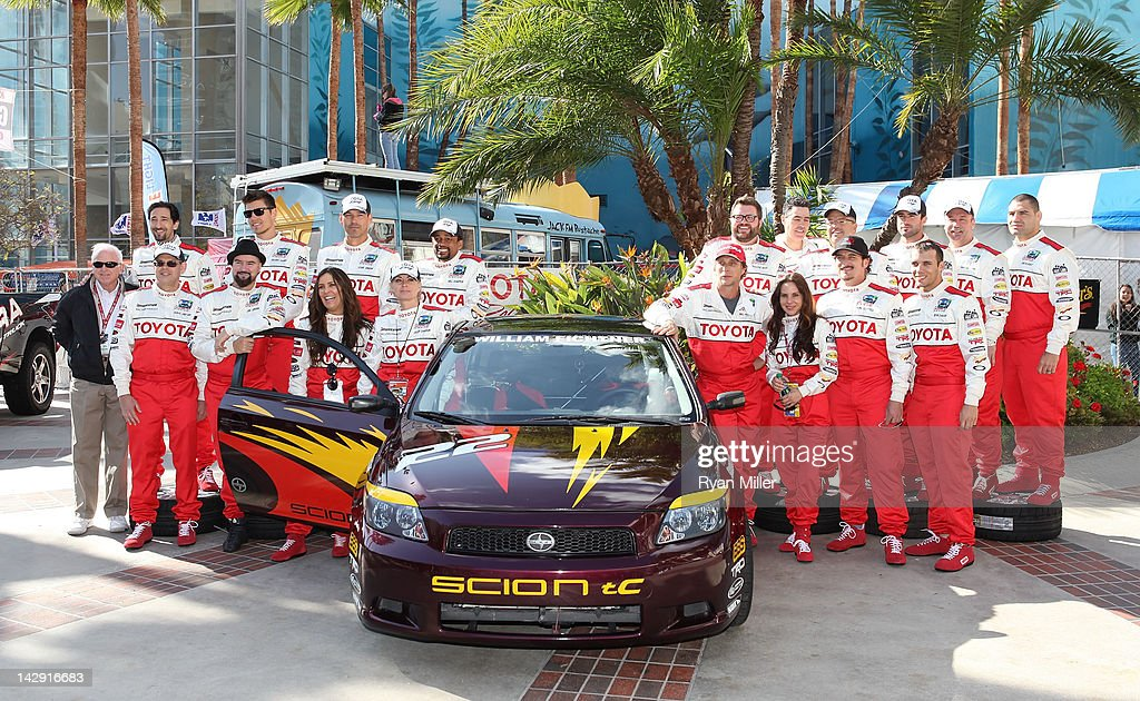 The racers pose during the 36th Annual Toyota Pro/Celebrity Race held at the Toyota Grand Prix of Long Beach on April 14, 2012 in Long Beach, California.