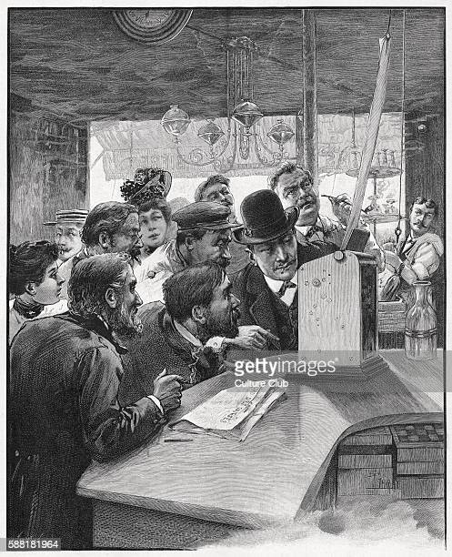 The Races… for those who dont go illustration of people in a café watching the results of a horse race being printed on a telegraph machine...