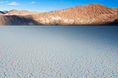 The Racetrack Playa Dry Lake In Death Valley National Park In California. Horizontal Image