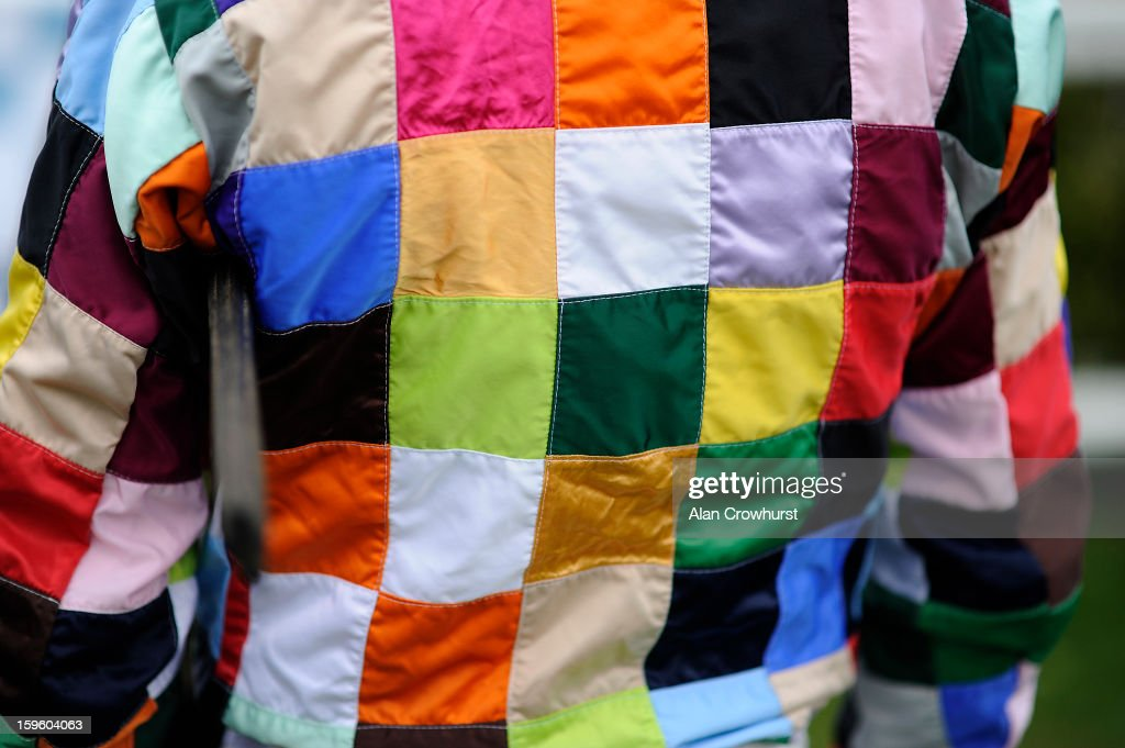 The racing silks called 'Crazy Quilt' are worn at Wincanton racecourse on January 17, 2013 in Wincanton, England.