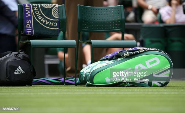 The racquet bag of Great Britain's Andy Murray before his match against Belgium's David Goffin at the All England Lawn Tennis and Croquet Club...