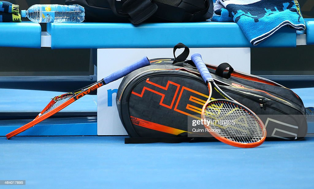 The racquet broken by Andy Murray of Great Britain after losing the third set in his fourth round match against Stephane Robert of France during day eight of the 2014 Australian Open at Melbourne Park on January 20, 2014 in Melbourne, Australia.