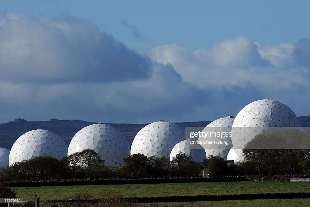 The radar domes of RAF Menwith Hill in north Yorkshire dominate the skyline on 30 October, 2007, Harrogate, England. The base is reported to be the biggest spy base in the world. Britain recently agreed to a United States request for the RAF Menwith Hill monitoring station, also known as the 13th field station of the US national security agency, in North Yorkshire to be used as part of its missile defence system. Dubbed 'Star Wars Bases' by anti-war and CND campaigners. The facility houses British and United States personnel.