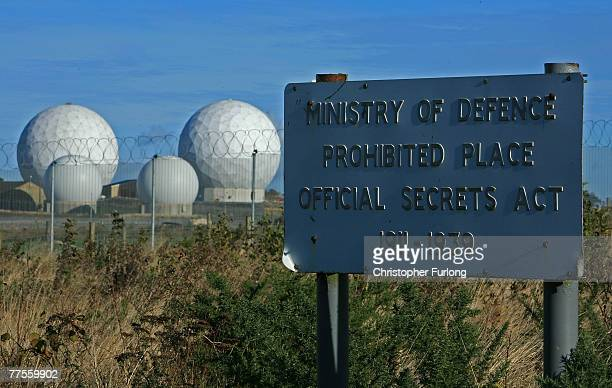 The radar domes of RAF Menwith Hill in north Yorkshire dominate the skyline on 30 October Harrogate England The base is reported to be the biggest...
