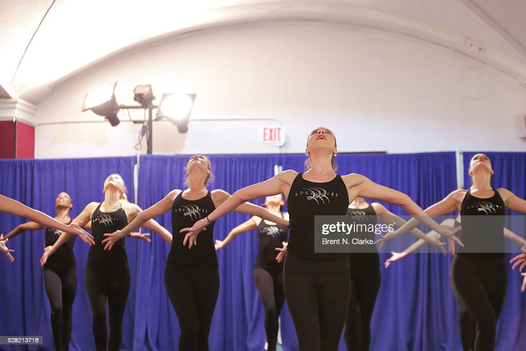The <a gi-track='captionPersonalityLinkClicked' href=/galleries/search?phrase=Radio+City+Rockettes&family=editorial&specificpeople=2135816 ng-click='$event.stopPropagation()'>Radio City Rockettes</a> are seen rehearsing for their upcoming production of 'New York Spectacular' at St. Paul The Apostle Church on May 4, 2016 in New York City.