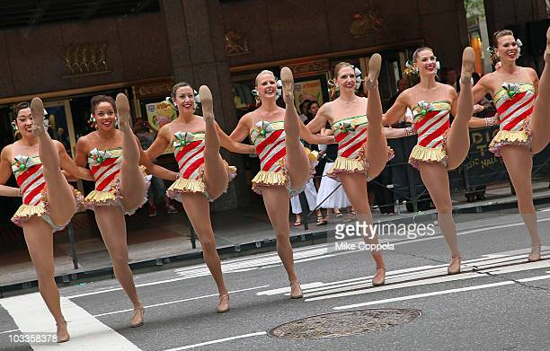 The Radio City Rockettes perform during the 2010 Radio City Christmas Spectacular Kick Off at Radio City Music Hall on August 12 2010 in New York City
