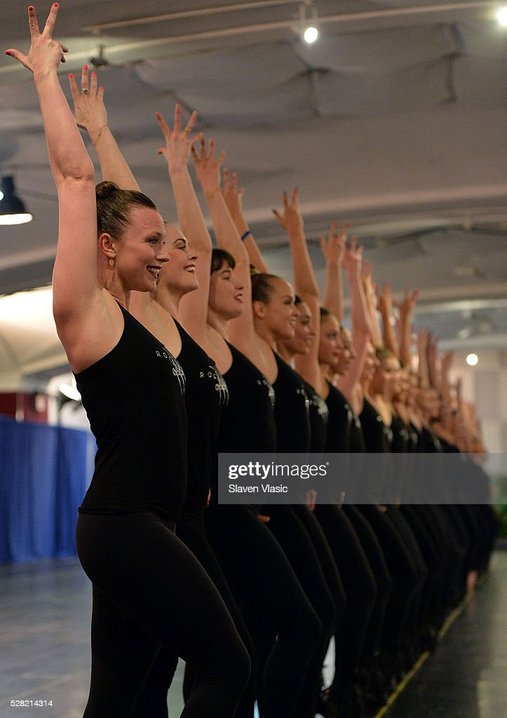 The <a gi-track='captionPersonalityLinkClicked' href=/galleries/search?phrase=Radio+City+Rockettes&family=editorial&specificpeople=2135816 ng-click='$event.stopPropagation()'>Radio City Rockettes</a> rehearse for New York Spectacular at St. Paul The Apostle Church on May 4, 2016 in New York City.