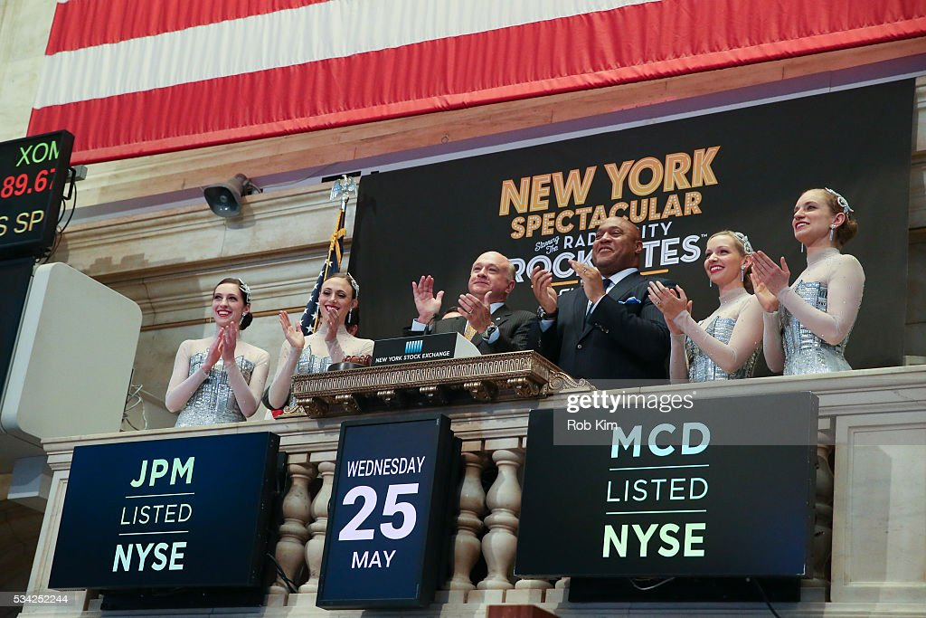 The Radio City Rockettes ring the NYSE Opening Bell to mark return of the 'New York Spring Spectacular' at New York Stock Exchange on May 25, 2016 in New York City.