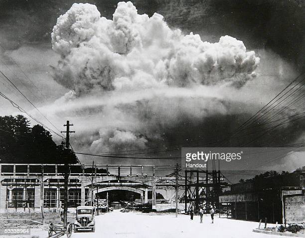 View of the radioactive plume from the bomb dropped on Nagasaki City as seen from 96 km away in Koyagijima Japan August 9 1945 The US B29...