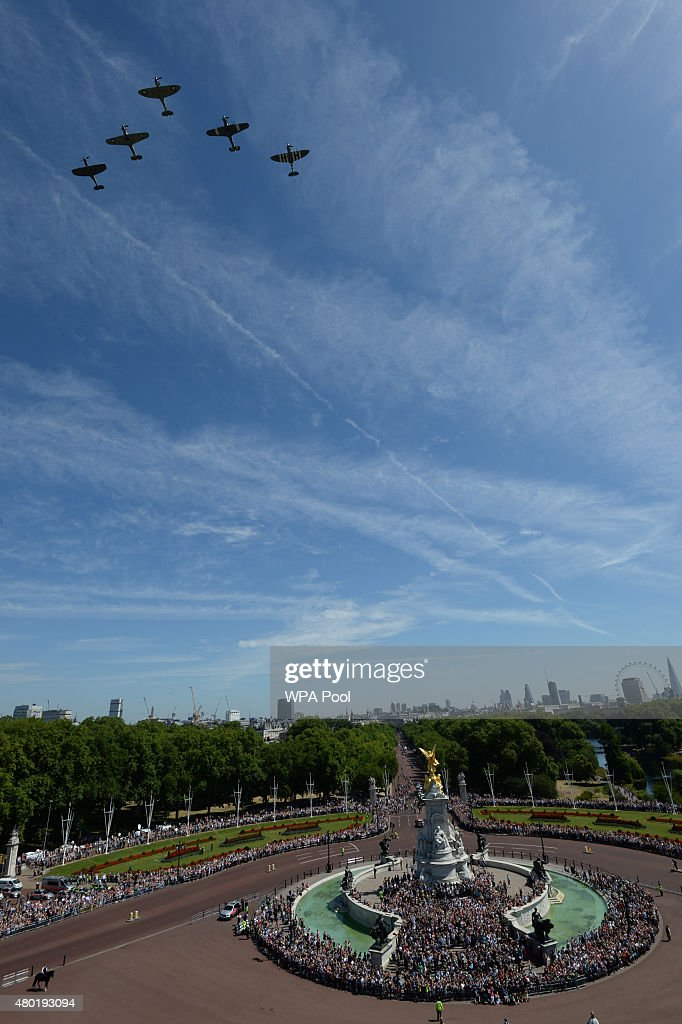 The RAF flypast, containing three Spitfires and two Hurricaines, passes over Buckingham Palace to commemorate the 75th Anniversary Of The Battle Of Britain on July 10, 2015 in London, England.