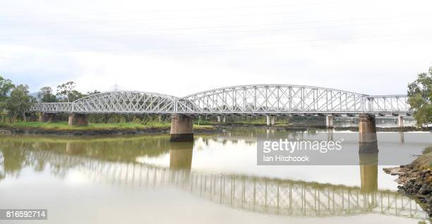 The railway bridge is seen stretching across the Fitzroy river on July 09 2017 in Rockhampton Australia