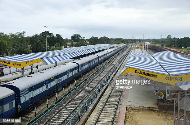 The railway station is deserted during a nationwide strike called by 10 major trade unions over wages and economic reforms in Dharmanagar in...