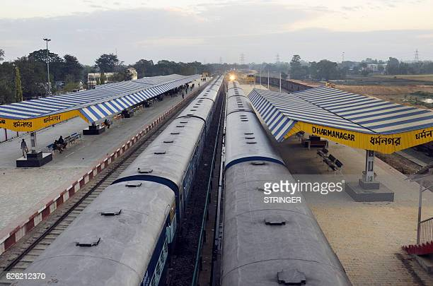 The railway station is deserted during the 'Bharat Bandh' nationwide strike called by the Communist Party of India CPI party in Dharmanagar in...