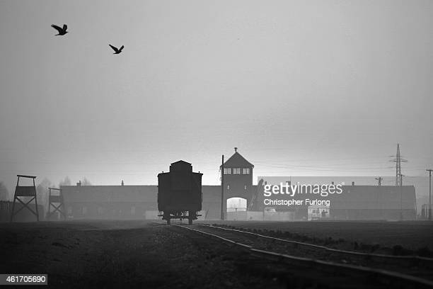 The railway track leads to the infamous 'Death Gate' at the Auschwitz II Birkenau extermination camp on November 13 2014 in Oswiecim Poland...