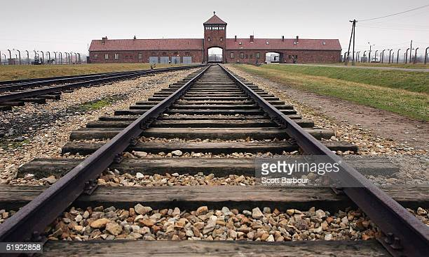 The railway tracks leading to the main gates at Auschwitz II Birkenau seen December 10 2004 the camp was built in March 1942 in the village of...