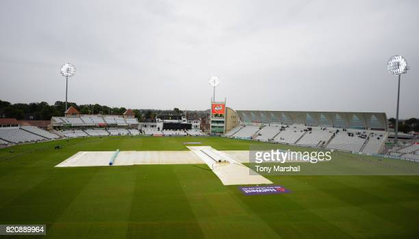 The rain covers are on at Trent Bridge as rain stops play during the NatWest T20 Blast between Nottinghamshire Outlaws and Northamptonshire...
