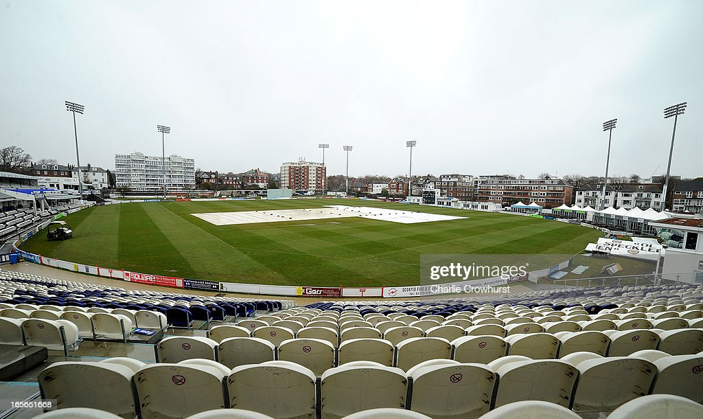 The rain covers cover the pitch prior to the friendly match between Sussex and Loughborough MCCU at the Brighton and Hove Jobs County Ground on April 05, 2013 in Hove, England,