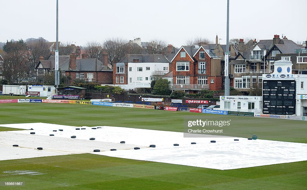 The rain covers stay on prior to the friendly match between Sussex and Loughborough MCCU at the Brighton and Hove Jobs County Ground on April 05, 2013 in Hove, England,