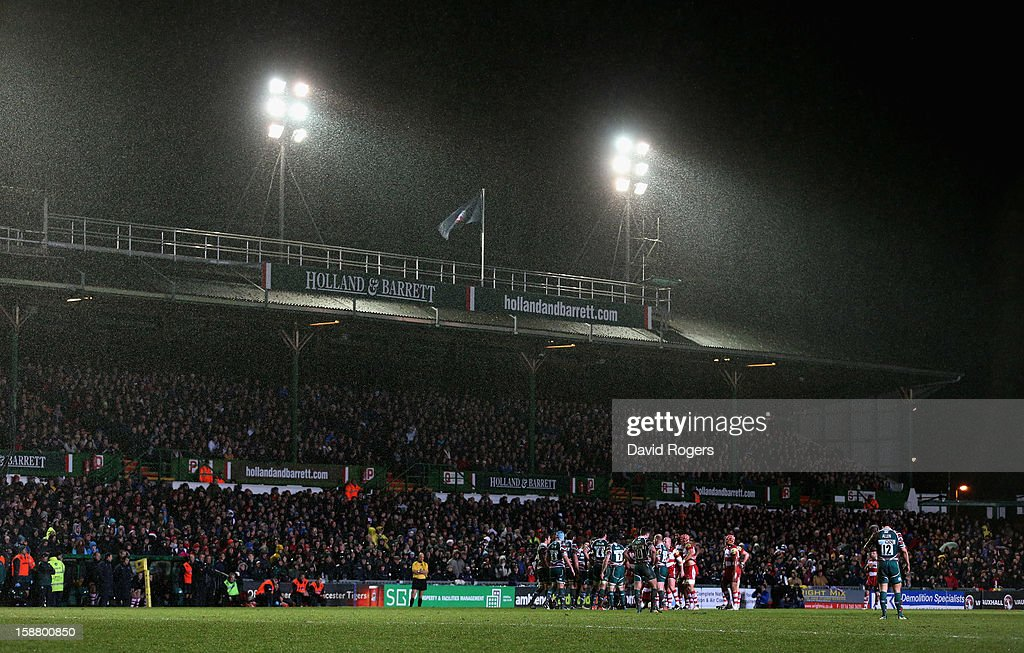 The rain pours down during the Aviva Premiership match between Leicester Tigers and Gloucester at Welford Road on December 29, 2012 in Leicester, England.