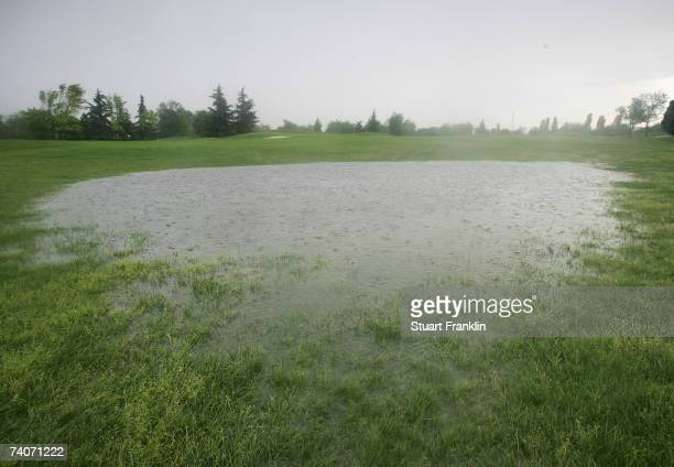 The rain soaked first fairway during the storm that delayed the second round of The Telecom Italian Open Golf at The Castello Di Tolcinasco Golf Club...