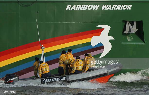 The Rainbow Warrior III the newest ship of the enivornmental conservation organization Greenpeace is accompanied by Greenpeave activists in a rubber...
