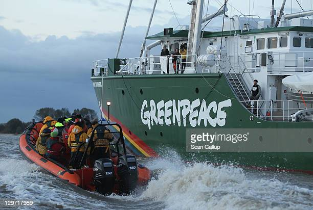 The Rainbow Warrior III the newest ship of the enivornmental conservation organization Greenpeace is accompanied by Greenpeace activists and members...