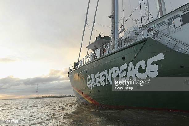 The Rainbow Warrior III the newest ship of the enivornmental conservation organization Greenpeace makes its way on the Elbe River to port on October...