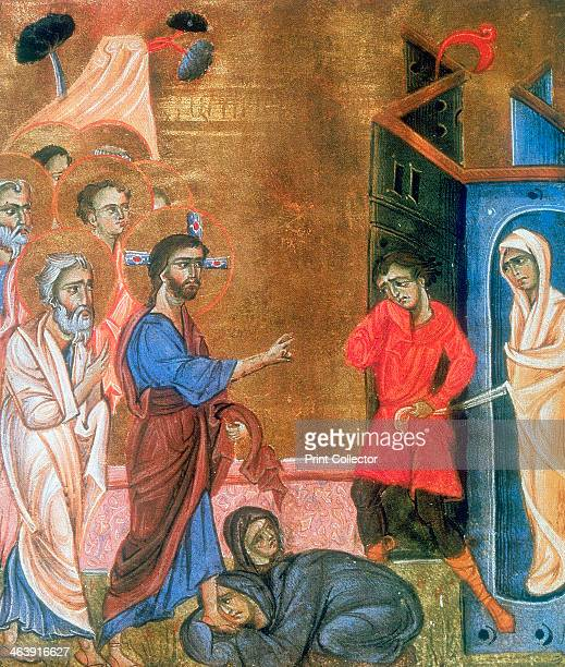 'The Raising of Lazarus' c1268 Martha and Mary sisters of Lazarus kneel at Jesus' feet as Lazarus is led from tomb in his shroud From an Armenian...