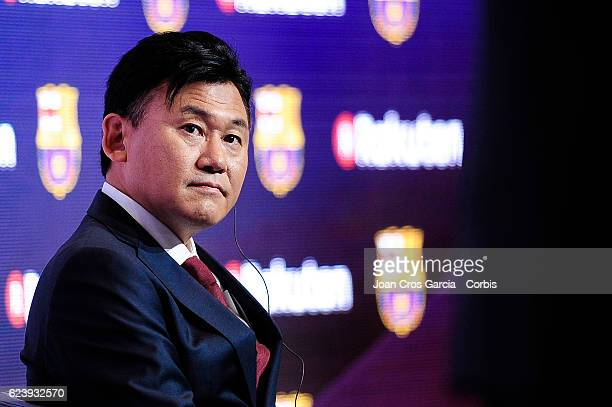 The Rakuten CEO Hiroshi Mikitani launching the new FCBarcelona Global Partner Rakuten on November 16 2016 in Barcelona Spain