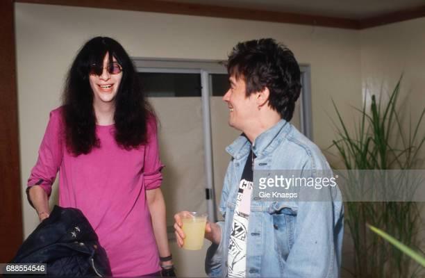 """The Ramones Joey Ramone met Peter """"Spider"""" Stacy Pukkelpop Festival Hasselt Belgium"""